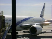 From the American Galut back to Israel: an El Al flight loading at Liberty Airport