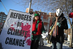 Climate change refugees - or so these protesters claim to speak for