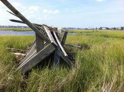 An old duck blind that once held an osprey nest.