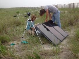 """R2D2"", automated telemetry receiver used to track piping plover movements (Photo courtesy of Lauren Gingerella)"