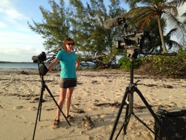 CWFNJ's Stephanie Egger filming on location in the Bahamas