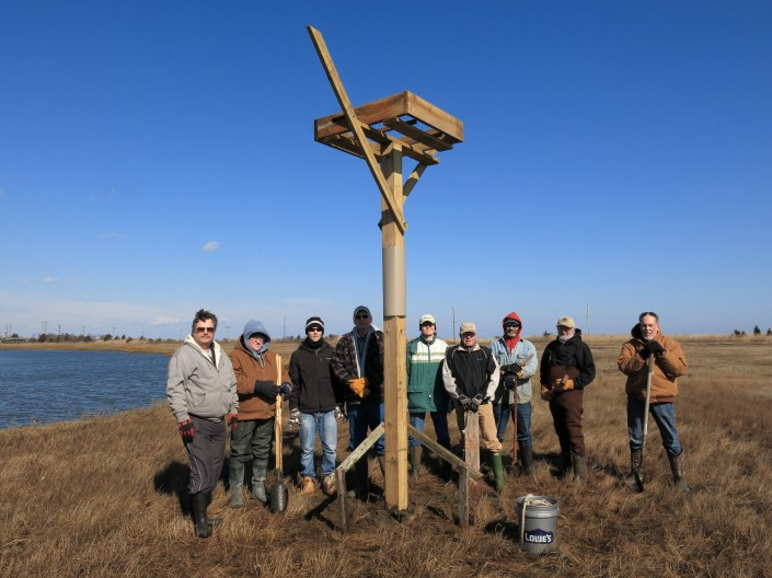 Volunteers who helped to install the first platform for ospreys in 2014! © Ben Wurst