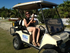 CWFNJ's Stephanie Egger (and Minnie Mouse) added a golf cart to the ways we've used to access survey sites in the Bahamas.