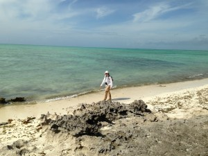 Karen Terwilliger, Wildlife Biologist and original member of the Piping Plover Recovery Team, surveys the most southern beaches and flats of Abaco, Bahamas.