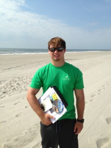 Derek Noah, CWF Intern, collecting patron surveys at Stone Harbor, New Jersey.