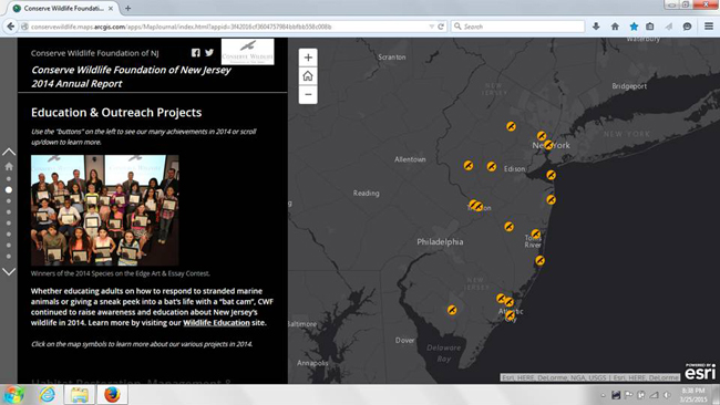 A screen capture of one of the pages of the CWF 2014 Annual Report Story Map.