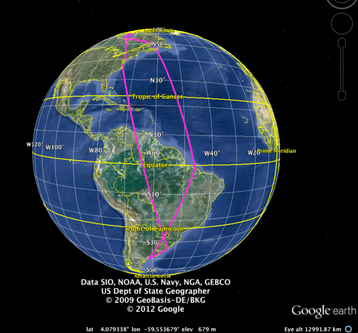 Map of geolocator track of a South American wintering  red knot
