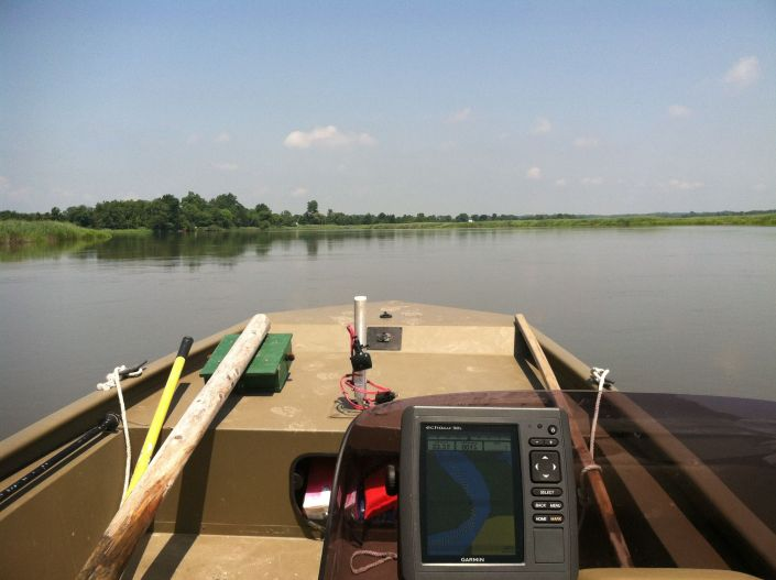 """Underway during daylight hours to check-ride new field boat, and deploy an acoustic recording unit that also """"listens"""" for Black Rail."""