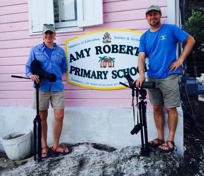 Shorebird Sister School Network leaders and CWF biologists, Stephanie Egger and Todd Pover at Amy Roberts Primary School, one of the first sister schools in the program.