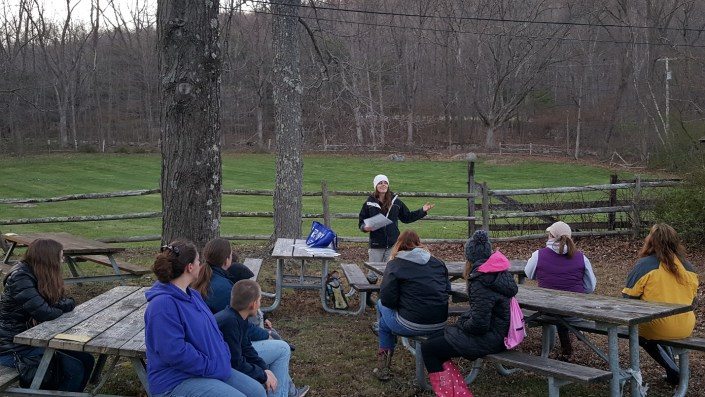 CWF biologist Kelly Triece educates participants on the natural resources of Waterloo.