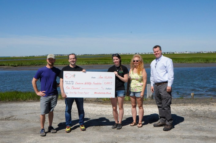 A $5000 donation presented to CWF by Absolutely Fish for the Terrapin Project. Photo by Corrine Henn.