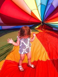 Child inside hot air balloon