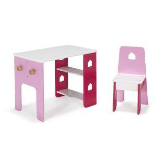 bureau et chaise roses pour enfant avec
