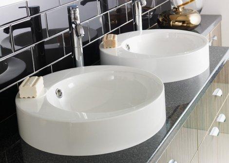 double vasque ronde de salle de bain