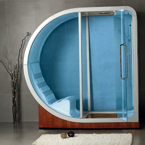 cabine de douche bleue ultra design
