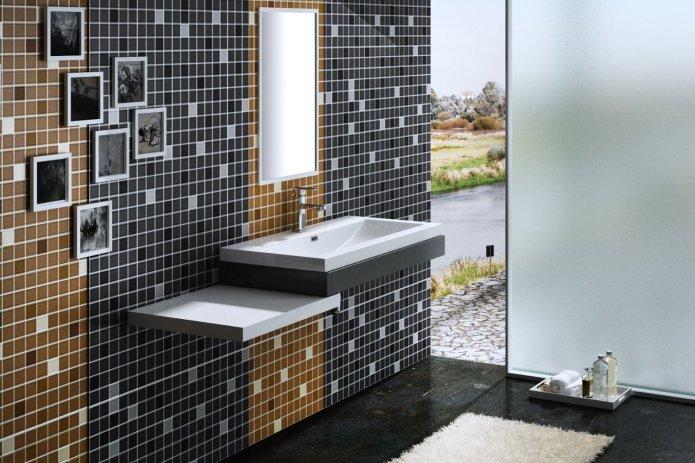 vasque à encastrer COLOSSUM 1000 contre mur en mosaique