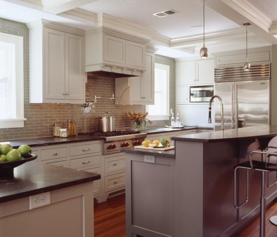 Ici, la délimitation entre la cuisine et le salon est moins marquée...