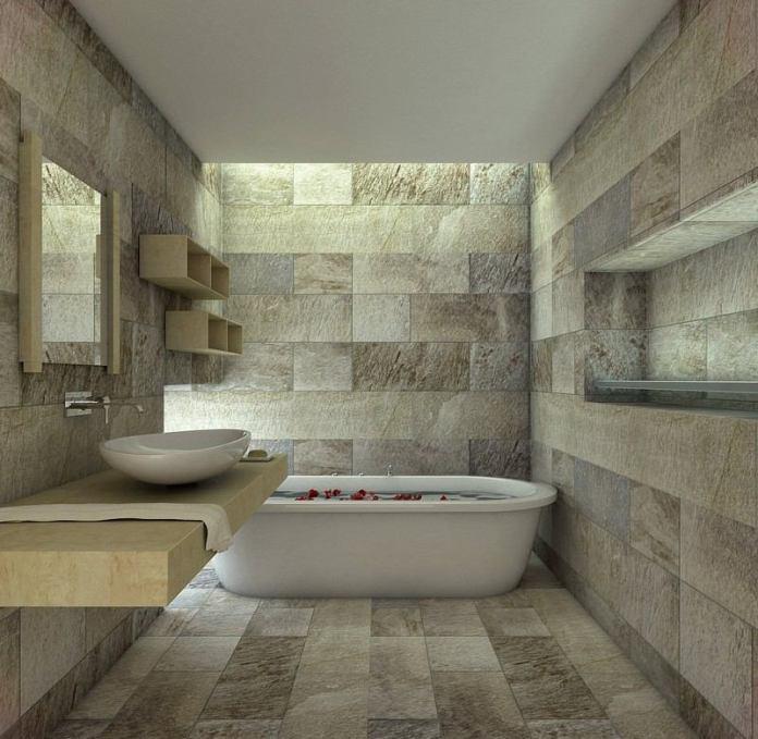 Salle de bain en pierres taillées