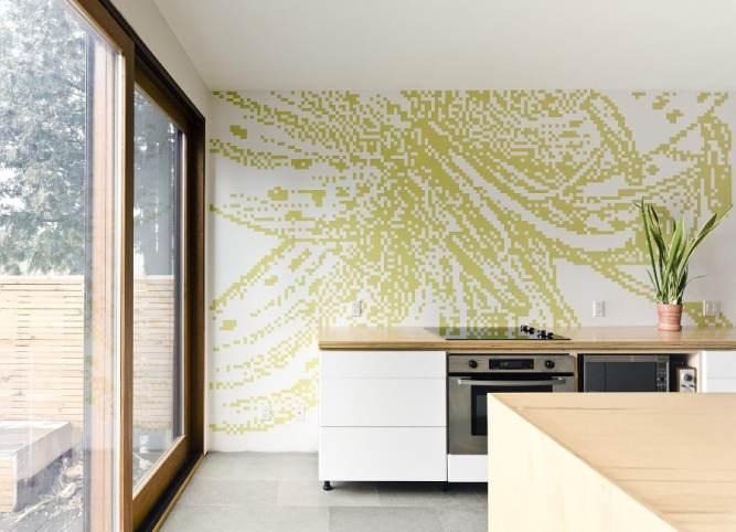 Une façon originale de décorer un mur de cuisine.