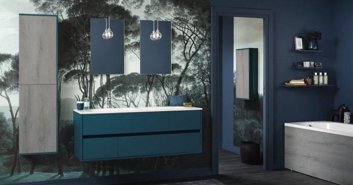 grande salle de bain bleu canard