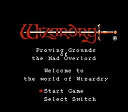 Wizardry Start Screen
