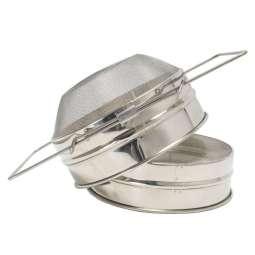 Filtro doppio inox, con fondo convesso e manici estensibili Ø 205 mm per miele