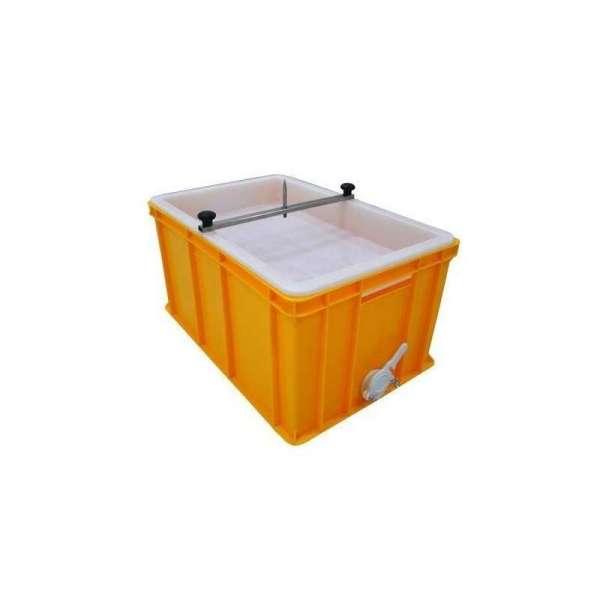 Banco per disopercolare in plastica, altezza 30 cm con perno e vassoio in plastica alimentare