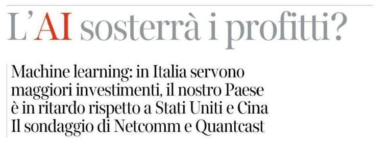 """L'AI sosterrà i Profitti? – Intervista su """"Corriere Innovazione"""""""