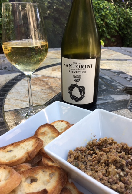 Greek wine with tapenade