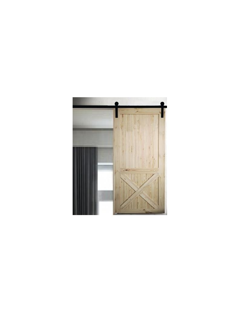 porte coulissante en bois avec systeme modele rustique