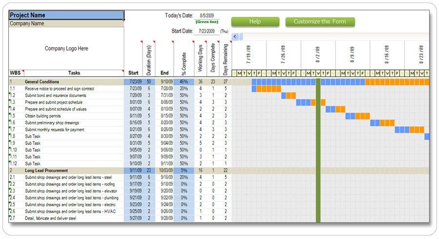 7 Day Commercial Construction Schedule  Construction Schedules Templates