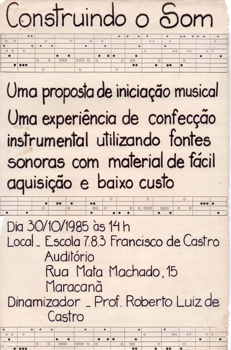 Cartaz elaborado pela equipe pedagógica local para divulgação de um dos primeiros workshops ministrados por Roberto Luis Castro no Rio de Janeiro