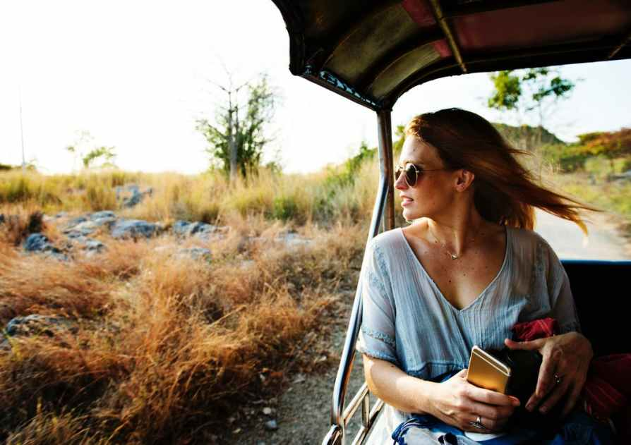 woman enjoying safari