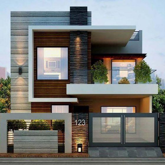 Taş ve kiremit cepheli iki katlı ev, modern tarz