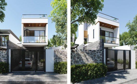 Basit ve zarif iki katlı cephe, büyük pencereler ve modern tasarım stili
