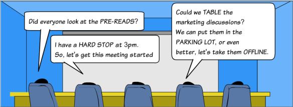 Cartoon Meeting Jargon