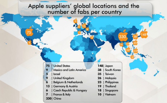 Apple suppliers around the world