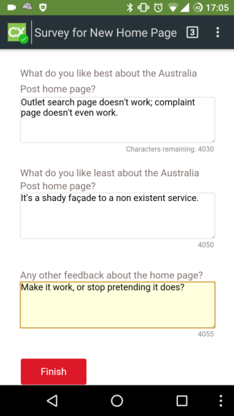 A negative survey to AusPost