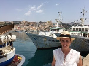 Barbara Nevins Taylor at the fishing dock in Sciacca, Sicily