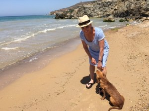 Barbara Nevins Taylor and dog at Realmonte, Agrigento, Sicily