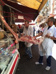 Butchers in Catania Market,Sicilia