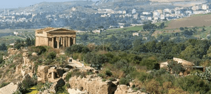 View from below of Valley of the Temples, Agrigento, Sicily