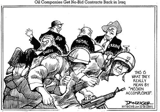 Iraq war profiteers in the US, cartoon