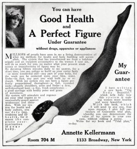 """Ad for Kellerman's health and beauty book, The Body Beautiful,"""" 1911."""