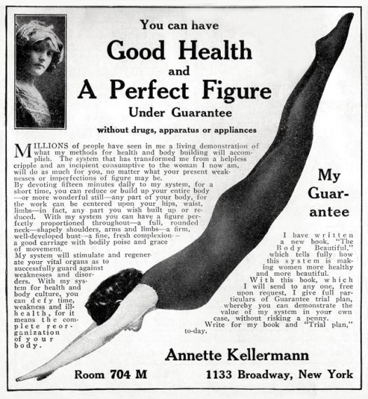 "Ad for Kellerman's health and beauty book, The Body Beautiful,"" 1911."