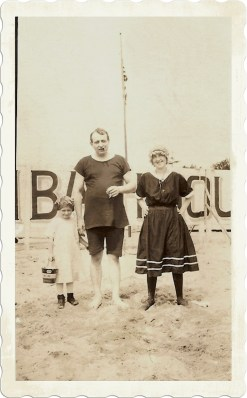 Typical bathing suits for a family at the beach, ca.1910. Courtesy of Kym Pichon, personal collection.