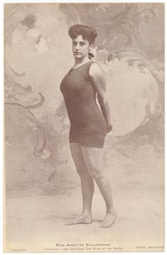 Champion swimmer Annette Kellerman, posing for a publicity photo in a union suit, in her native Australia, ca. 1905.