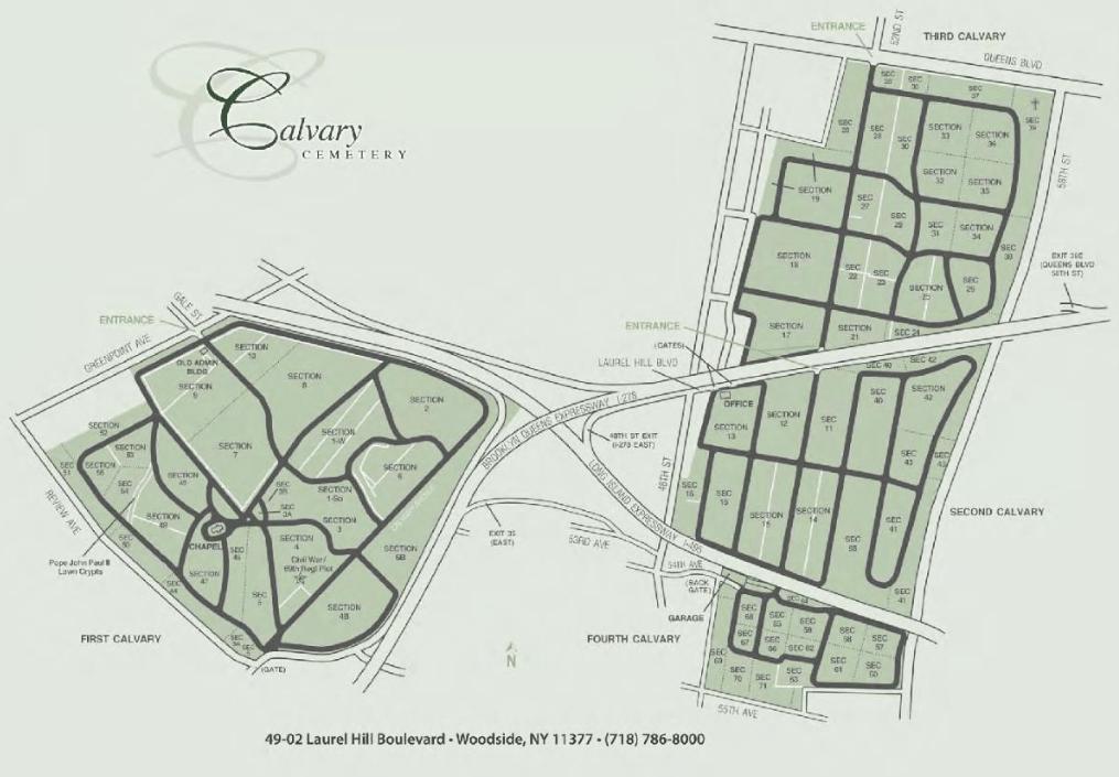 mapa del calvary cemetery