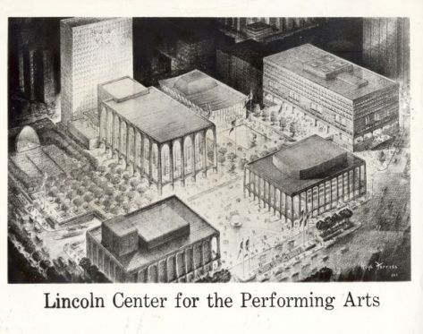 Bosquejo del arquitecto del campus del Lincoln Center, materiales de planificación y promoción del Lincoln Center, 1960. Rockefeller Archive Center.