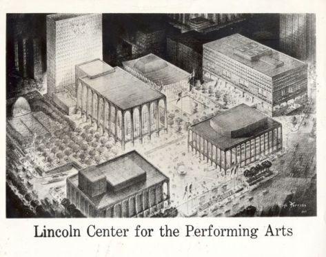 Bosquejo del arquitecto del campus del Lincoln Center, materiales de planificación y promoción del Lincoln Center, 1960. Rockefeller Archive Center.